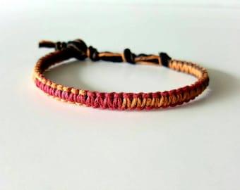 Autumn Multi-color Hemp Bracelet, fall orange, brown, red, Hemp Anklet, Indie Hemp Works, Hemp Jewelry, Aromatherapy, Natural, Bug Repellent