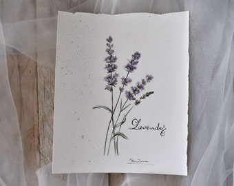 Original painting with watercolor of branches of lavender