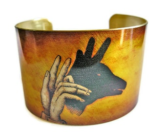 Deer Shadow Puppet cuff bracelet brass Free Shipping to USA Gifts for her