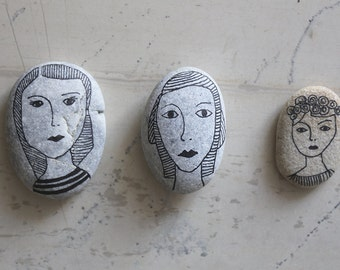 Handpainted Decorative Sea Rock - Pebble Art - Paperweight - Hand-drawn Woman on Sea Rock