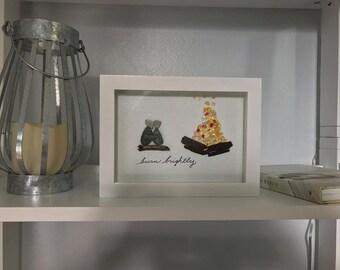 """Sea Glass Art """"Burn Brightly"""" Framed Shadow Box Bonfire Couple"""