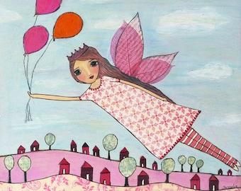 Fairytale Painting, Pink Fairy Art Print for Nursery Decor and Little Girls Room Decor