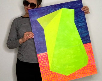 30x22 Geometric Abstract Painting, Green Blue, NY1419