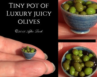 Tiny Pot of Juicy Olives - Artisan fully Handmade Miniature in 12th scale food. From After Dark miniatures.