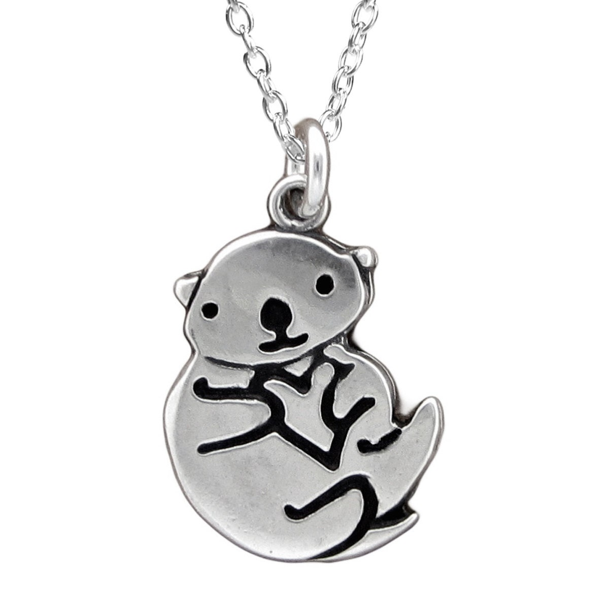 Otter necklace sterling silver sea otter pendant or charm zoom aloadofball Image collections