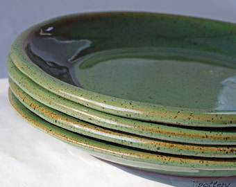 Pottery Plates, Dinner plates, Stoneware Plates, Dinnerware, Ceramic plates, Pottery dinnerware, Green plates, Handmade dinner plates