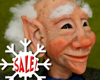 NEW SALE, Elf Art Doll Sculpture, Nestor the ELF and his Dragon