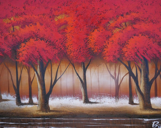 Red Tree Painting Oil on Canvas Wall Art Beautiful Decor