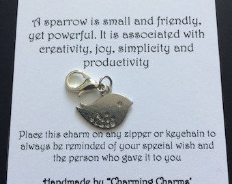 Handmade, Zipper Charm, Wish Charm, Birthday, Friends, Family, Keychain, Love, Gift, Sparrow, Bird, Joy, Creativity