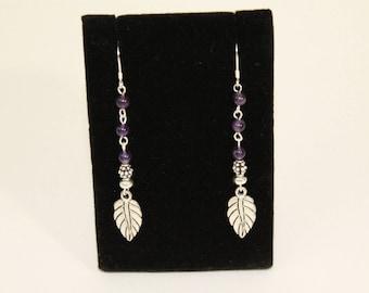 Amethyst and Sterling Silver Leaf Earrings.