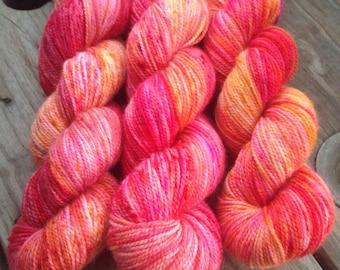 Fire Opal on Suutra 80/20 2 ply high twist sock yarn