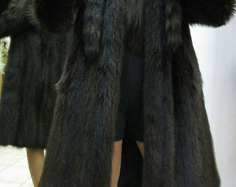 New!Natural Real Fullskin RACCOON Hooded Fur Coat!!!