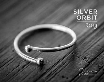 Silver Orbit Ring   Sterling Silver   Silver Wrap Ring   Midi Ring   Lightly Hammered Ring   Delicate Rings   Boho Ring Thin Band Light Ring