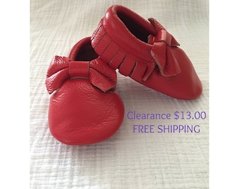 Red Bow Leather Moccasins