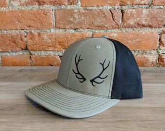 Elkhorn Embroidery Antler Hat on Richardson 312 Loden/Black