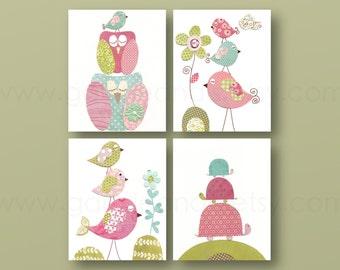 Girl Nursery Art Print nursery art baby nursery kids art nursery print pink blue green turtle  Birds owl Set of 4 prints
