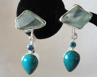 An Exquisite Set Of Chrysocola Aqua Marine Sterling Silver Earrings***.