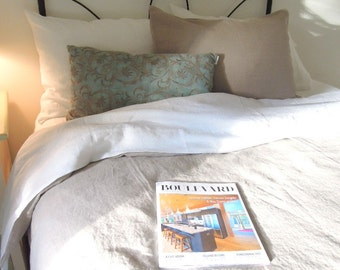 Queen Linen Duvet Cover, Washed Linen Duvet Cover, Natural Bedding, Joy1