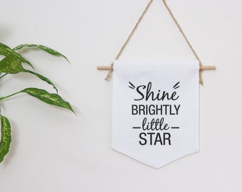 White nursery baby gift hanging linen banner with embroidered quote shine brightly little star, great as a newborn gift, christening gift