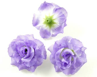 Set of 3 artificial flowers without stem 4cm - purple