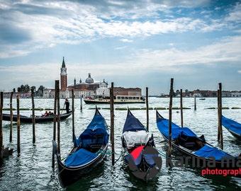Gondolas in Venice, Italy, Italian, travel, landscape,  romance, water, Venetian, Photograph, print, wall art, home decor