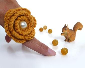 Mustard Yellow Flower Ring - Crochet Wool Rose, Adjustable, Boho, Statement, Romantic Ring - Bridesmaid, Best Friend, Mom, Valentines Gift