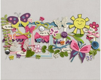 Flutterbye Garden Elements for Digital Scrapbooking