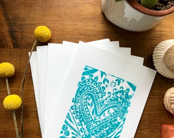 Turquoise Henna Heart Linocut Card Set / Mother's Day Gift/ Blank Card Set / Anniversary Cards/ I Love You Cards/ Thank You Card Gift
