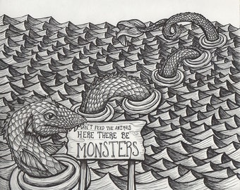 Sea Serpent in Ocean with Wooden Sign - 8 x 10 Print - Pen and Ink Illustration
