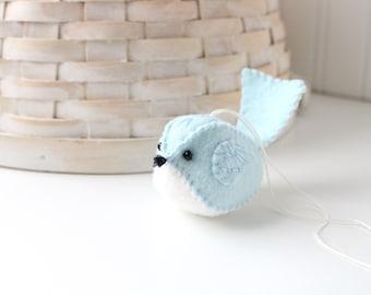 Felt Bird Ornament Embroidered Handmade Wool Felt Bird Light Blue