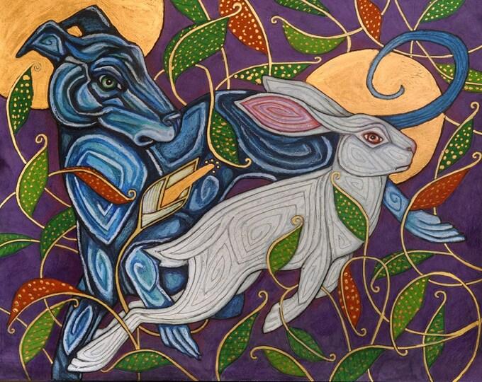 Celtic Dog / Greyhound / Whippet Hunting Rabbit Art Print