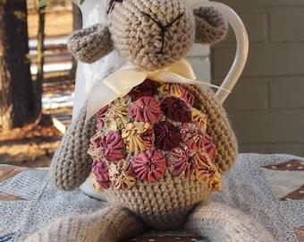 Crochet sweet lamb with pink embellishment yo yos
