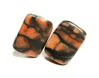 "Camo cabochons, camo marble cabs, brown orange,wire wrapping,  jewelry making, jewelry supplies, ""Domino's"""
