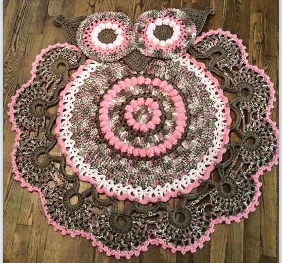 crocheted owl rug owl nursery girls room decor nursery. Black Bedroom Furniture Sets. Home Design Ideas
