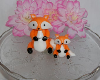 Fondant Fox Cake Topper - Fondant Woodland Animals - Fox Topper - Baby Fox Topper - Fox Cake - 1st Birthday - Birthday - Baby Shower - Baby