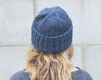 Fisherman beanie | wool beanie | Knit beanie | Knit wool beanie // The Classic Cuffed Beanie in Blue Denim