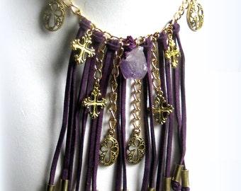 Purple Leather Fringe Cross Necklace Bohemian Jewelry,Boho Jewelry
