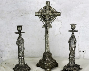 3 piece Altar Set Standing Ornate Crucifix Candlesticks Jesus Virgin Mary HTF