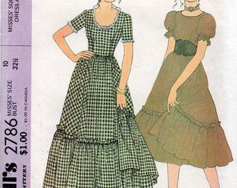 Vintage 1971 Uncut SQUARE DANCE DRESS & Belt McCall's Pattern 2786 Miss Size 10
