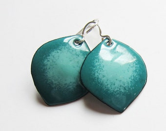 Teal and aqua enamel petal earrings Turquoise green leaf dangles Colorful enameled copper artisan jewelry