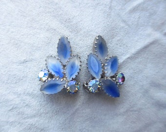 Vintage AB and Givre Blue Rhinestone Earrings Clip On