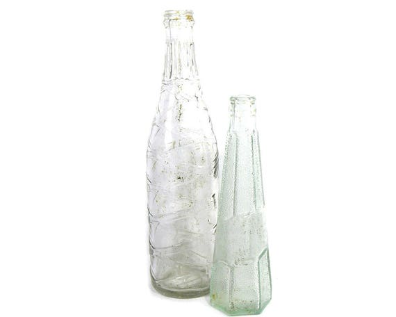 Vintage Pair of Tall Clear Glass Drinks Bottles