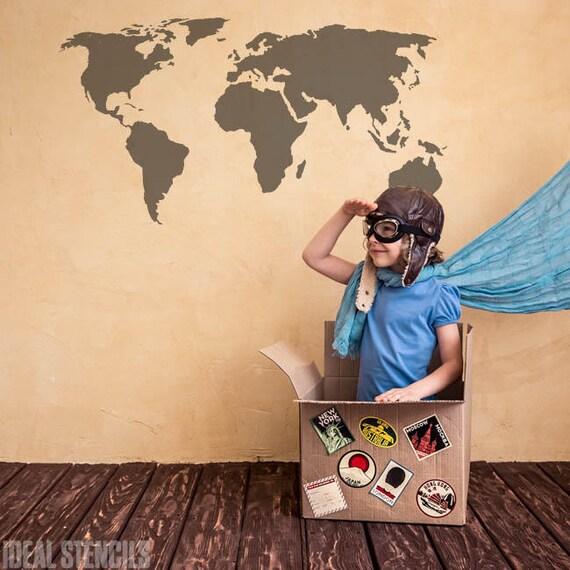 WORLD MAP STENCIL decorative wall stencil furniture