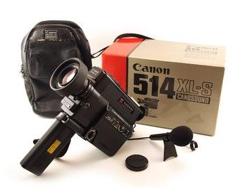 Canon 514XL-S Vintage Super 8 Film Camera. Canosound, Movie, Super 8mm video camera. Canon 514 XL S