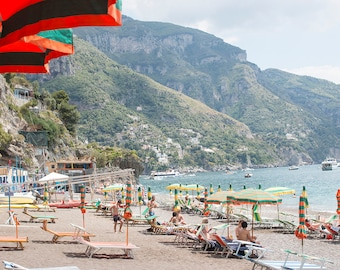 Italy Photography, Summer in Cinque Terre, Monterosso, Italy, beach photography, Italian home decor, blue umbrellas, summer in italy