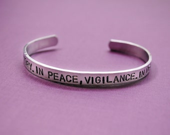 In War, Victory. In Peace, Vigilance. In Death, Sacrifice.- Dragon Age Inspired Grey Warden Bracelet - Hand Stamped Jewelry by Juniper Road