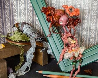 "OOAK art doll ""Be My Valentine"", handmade doll, Mixed Media box, Poseable doll, Puppet, Fantasy doll, Crimson, Woodland, Miniature doll"