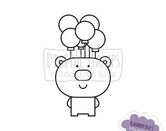 Digital stamp - Bear with balloons; Birthday; Digi