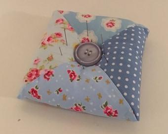 Vintage Blue Floral Patchwork Pin Cushion