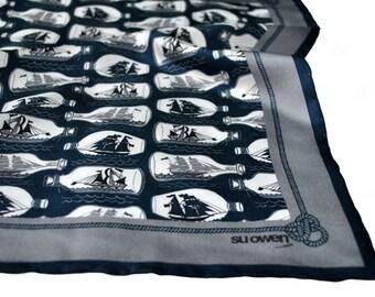 Pocket Square / Ships Pocket Square / Nautical Pocket Square / Ship in a bottle / Blue Silk Pocket Square / Nautical Neckerchief